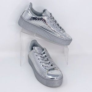 Qupid Shiney Silver Platform Sneakers Size 7.5